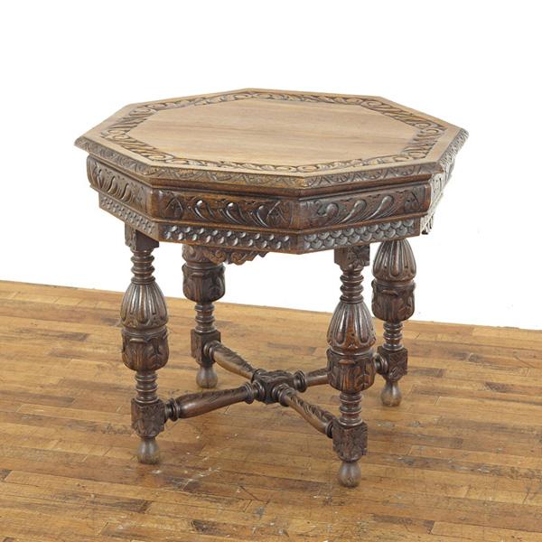 ルネッサンス様式サイドテーブル 美しい彫刻 ティーテーブル フランスアンティーク家具 アンティークテーブル 63009