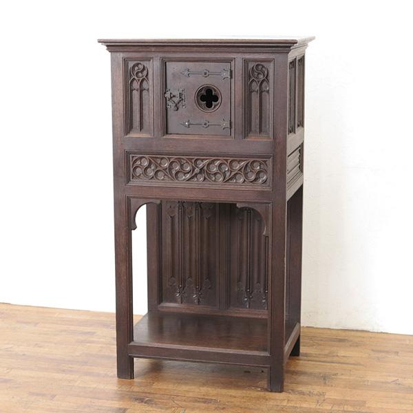 1900年頃 フランスアンティーク キャビネット 収納棚 ゴシックスタイル 透かし彫りや彫刻、取っ手のデザインも魅力 アンティークフレックス市場店 62716