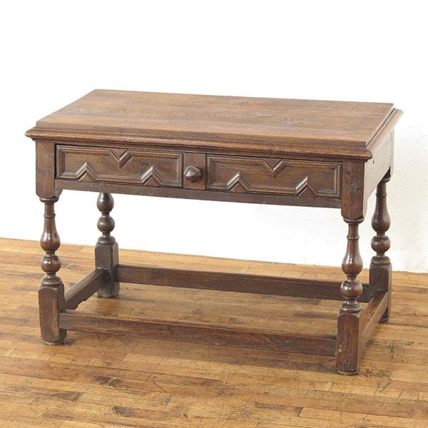 引出し付きコーヒーテーブル ウッドトップ 厚みのある天板 ローテーブル 1920年頃 フランス アンティークフレックス 20362a