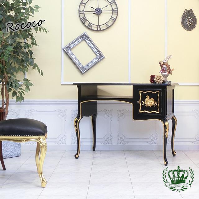 フレンチロココ ネイルデスク ネイルテーブル ブラック ゴールド 黒 7018-8G