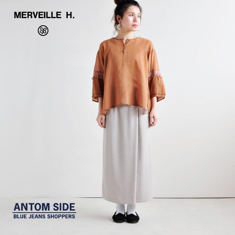 【MERVEILLE H/メルベイユアッシュ】シフォンマクラメブラウス