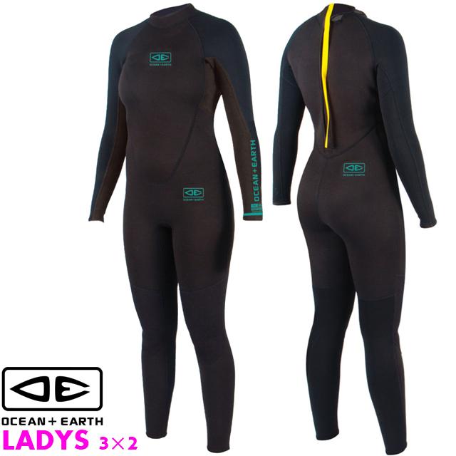 OCEAN&EARTH LADIES STEAMERウェットスーツ レディース フルスーツ3×2ミリ ウエットスーツ ジャーフル ウェットスーツ サーフィン オーシャン&アース 3mm