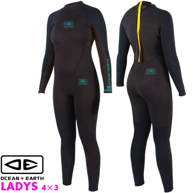 OCEAN&EARTH LADIES STEAMER ウェットスーツ レディース フルスーツ4×3ミリ ウエットスーツ ジャーフル ウェットスーツ サーフィン オーシャン&アース 4mm