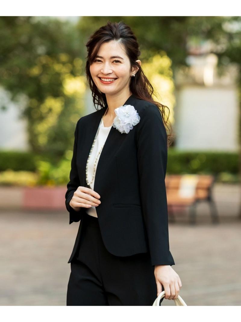 any SiS レディース コート ジャケット エニィスィス セットアップ対応 セレモニーダブルクロス 送料無料 本物 グレー ノーカラージャケット おしゃれ Fashion Rakuten カラーレス ブラック ネイビー