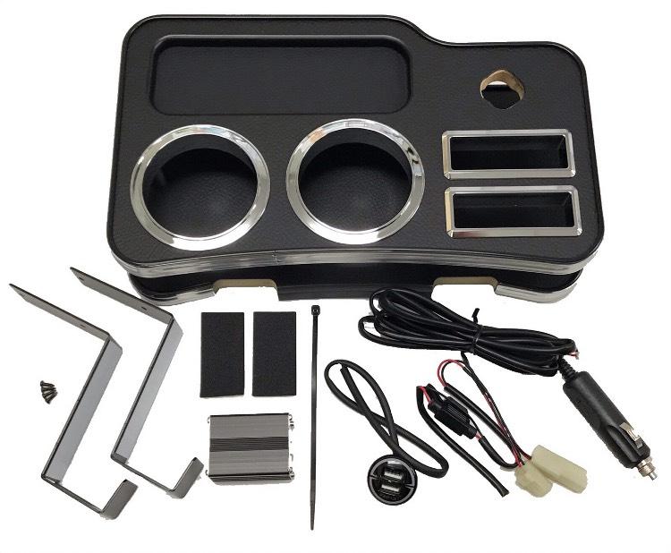 BUSSELL(バッセル)USB急速充電ポート付き フロントセンターコンソールテーブル レザーブラックNV350キャラバン E26(前期後期・2WD/4WD共通)