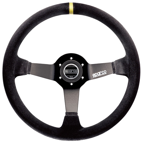 SPARCO/スパルコ 正規品ステアリング R325 ブラックスエード・ブラックスポーク