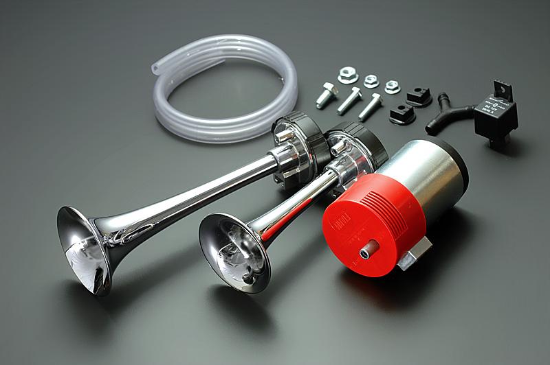 保安基準適合モデル FIAMM 売却 フィアム強力 2連エアホーン フェラーリ純正 CLASSIC メッキタイプ M4 国内送料無料