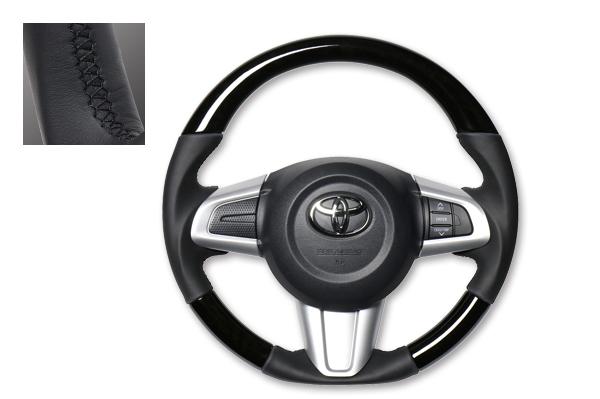 送料無料!REAL(レアル)ガングリップステアリング ブラックウッド ブラックユーロステッチルーミー・タンク・ジャスティ・トール(900系)