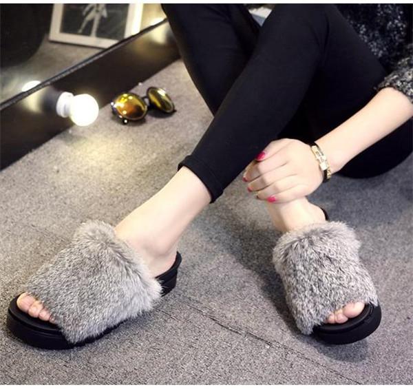 【Anytime】レディースサンダル ファーサンダル サボ ふわふわ 厚底  ウェッジソール ファースリッパ ラビットファー レディース靴 歩きやすい 疲れない ヒール4cm/7cm