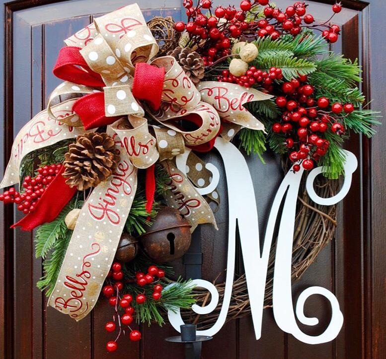 クリスマスリース 壁飾り 玄関 造花 クリスマス飾り 冬 ウィンターリース 直径30cm ドア パーティー インテリア リボン【Anytime】