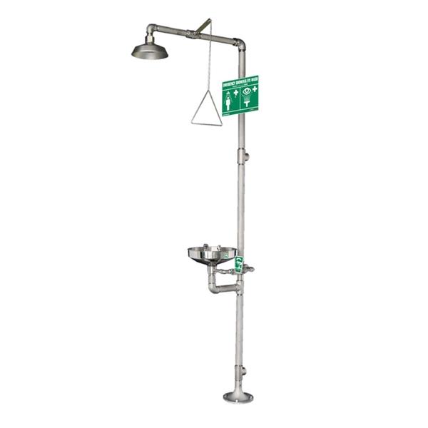 【代引不可】(ANZEN MALL) 緊急シャワー & 洗眼器 AM-200 (緊急用シャワー&洗眼器モデル(オールステンレス))