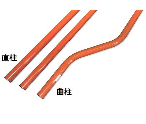 支柱 直柱 カーブミラー用ポール φ76.3mm L=3600mm 注意板(小)付き ナック・ケイ・エス