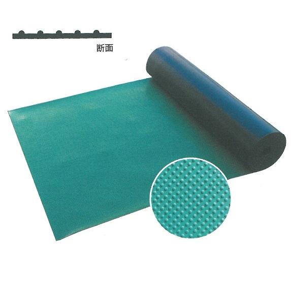 ポイントゴムマット イボ状加工 ゴムグリーンマット 1m×10m巻(大型商品)
