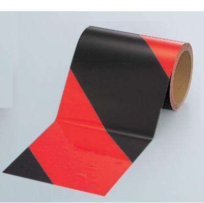 ゼブラ蛍光反射テープ レッドオレンジ/黒 ライムイエロー/黒 幅150mm×長さ10m