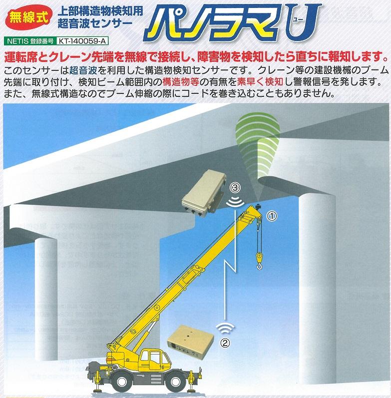 無線式 上部構造物検知用超音波センサー パノラマユー U(送料無料)クレーン建設機械用 NETIS登録商品 つくし工房