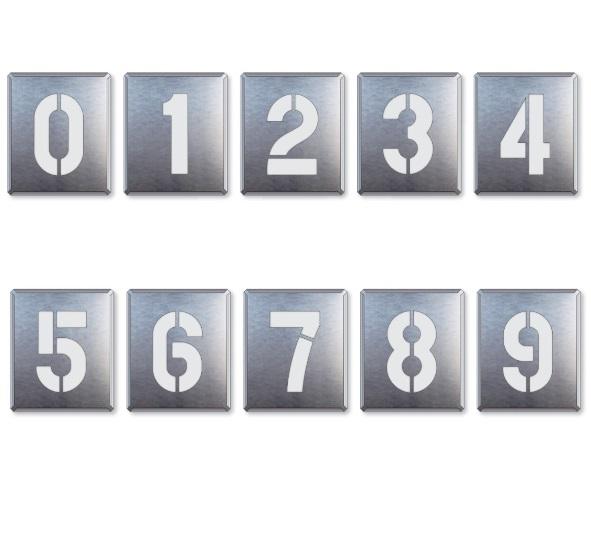 【送料無料】駐車場用番号表示路面吹き付け用プレート 「数字」 表示 大 10枚セット 819-35A