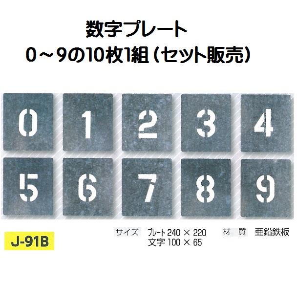 路面吹き付け用数字プレート 0~9  10枚セット 文字高 100 J-91B つくし