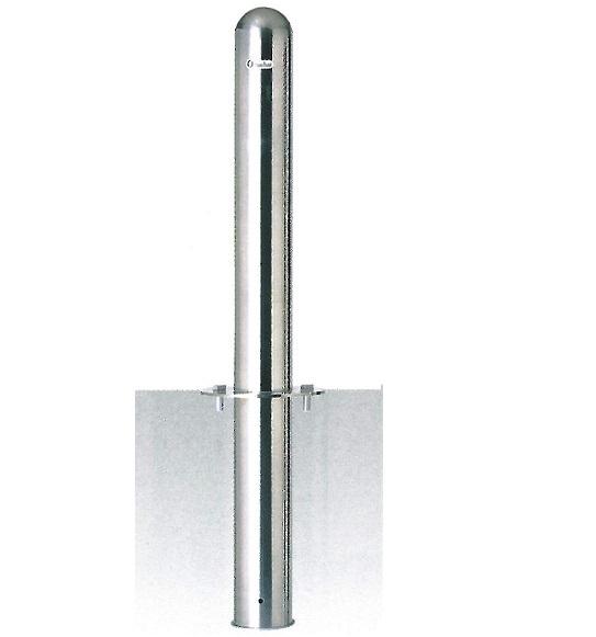車止め(ポストタイプ)サンキン メドーマルク ステンレス製 固定式フランジ付 φ114.3×H730mm(地上寸法) SP-11F(受注生産品)(大型商品)