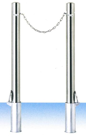 【送料無料】車止め(ポストタイプ)サンキン メドーマルク φ76.3×L1100mm(全長) クサリ内蔵(2m)+クサリ無し(端部)2本セット ステンレス製 差込式・フタ付 SP-8CN-SF SP-8CNT-SF
