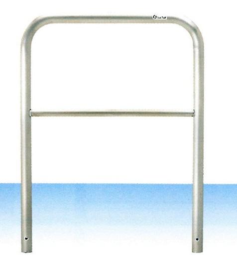 車止め サンキン メドーマルク ゲートタイプ ガードパイプ 横桟付 ステンレス製 固定式 φ42.7×W700×H650mm S4B-7