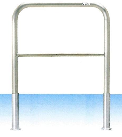 車止め サンキン メドーマルク ゲートタイプ ガードパイプ 横桟付 ステンレス製 差込式 φ42.7×W700×H650mm S4B-7S