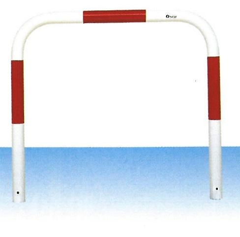 車止め サンキン メドーマルク ゲートタイプ ガードパイプ 鉄製 固定式 赤白 φ60.5×W1000×H650mm F6-10(大型商品)