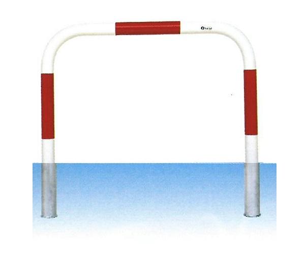 車止め サンキン メドーマルク ゲートタイプ ガードパイプ 鉄製 赤白 差込式 φ60.5×W1000×H650mm F6-10S(大型商品)