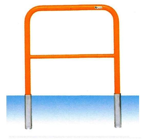車止め サンキン メドーマルク ゲートタイプ ガードパイプ 横桟付 鉄製 差込式 φ42.7×W700×H650mm F4B-7S