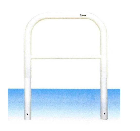 車止め サンキン メドーマルク ゲートタイプ ガードパイプ 横桟付 鉄製 固定式 φ60.5×W700×H650mm F6B-7