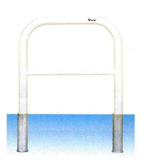 車止め サンキン メドーマルク ゲートタイプ ガードパイプ 横桟付 鉄製 差込式 φ60.5×W700×H650mm F6B-7S