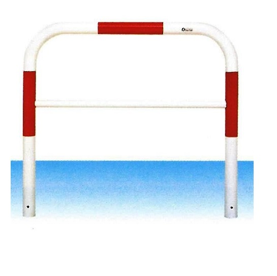 車止め サンキン メドーマルク ゲートタイプ ガードパイプ 横桟付 赤白 鉄製 固定式 φ60.5×W1000×H650mm F6B-10(大型商品)