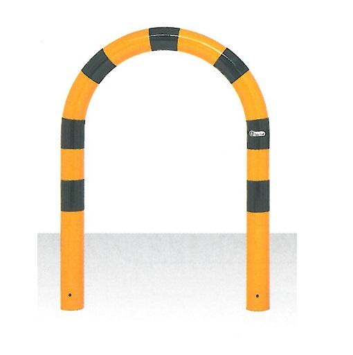 車止め サンキン メドーマルク Uタイプ ガードパイプ 鉄製 黄黒 固定式 φ76.3×WP600×H650mm FU8-6