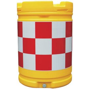 AZクッションドラム(PE製) 赤/白 工事保安・安全用品 約580×835mm AZC-001(大型商品)