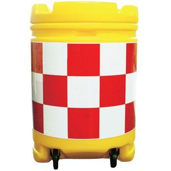 AZクッションドラム コロ付き(PE製) 赤/白 工事保安・安全用品 約580×840mm AZCK-001(大型商品)