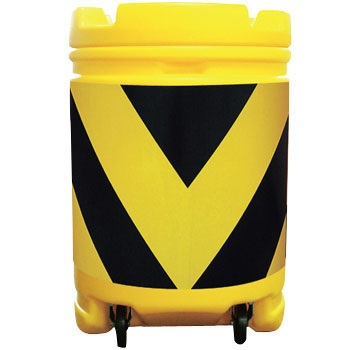 AZクッションドラム コロ付き(PE製) 黄/黒 工事保安・安全用品 約580×840mm AZCK-002(大型商品)