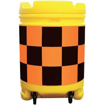 AZクッションドラム コロ付き(PE製) オレンジ(高輝度)/黒 工事保安・安全用品 約580×840mm AZCK-003(大型商品)