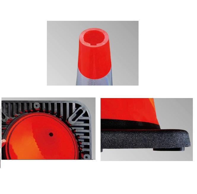 10個セット カラーコーン PCVソフトスマートコーン 700 赤 プリズム高輝度反射シート付