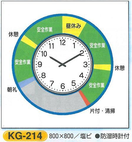 安全掲示板部品 安全掲示板用パーツ 安全施工サイクル 防湿時計付 KG-214