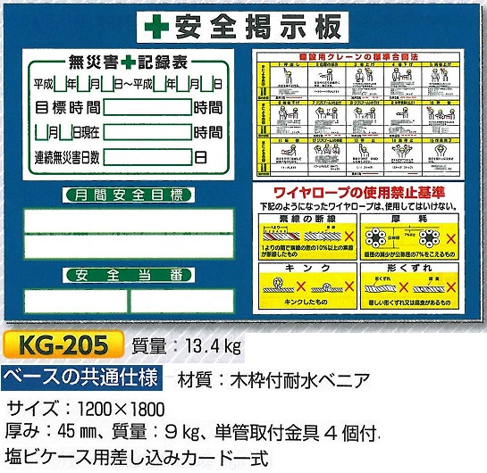 安全掲示板 小型安全掲示板 1200×1800 KG-205