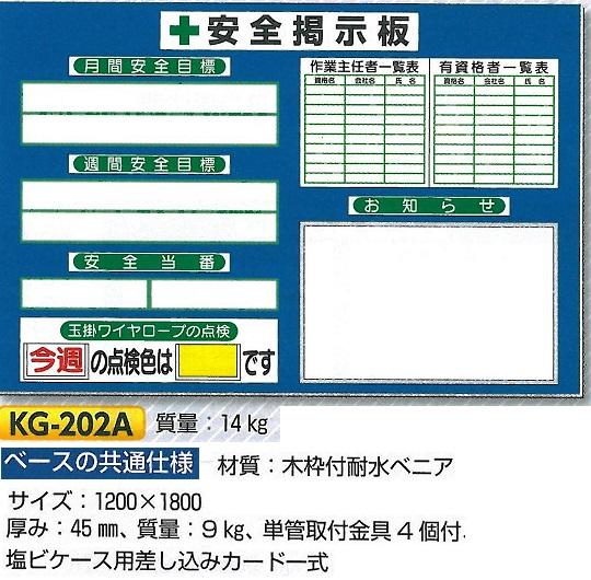 安全掲示板 小型安全掲示板 1200×1800 KG-202A【大型商品・個人宅配送不可】【代引不可】