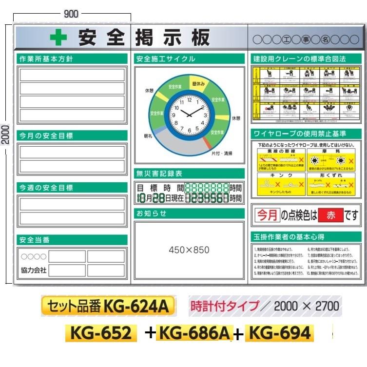 システム安全掲示板 3点タイプ スチール製フラット掲示板 KG-624A(大型商品) 安全施工サイクル時計付タイプ