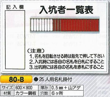入坑者一覧表 回転名札 入場、入坑者用名札 25人用 80-B