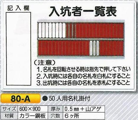 入坑者一覧表 回転名札 入場、入坑者用名札 50人用 80-A