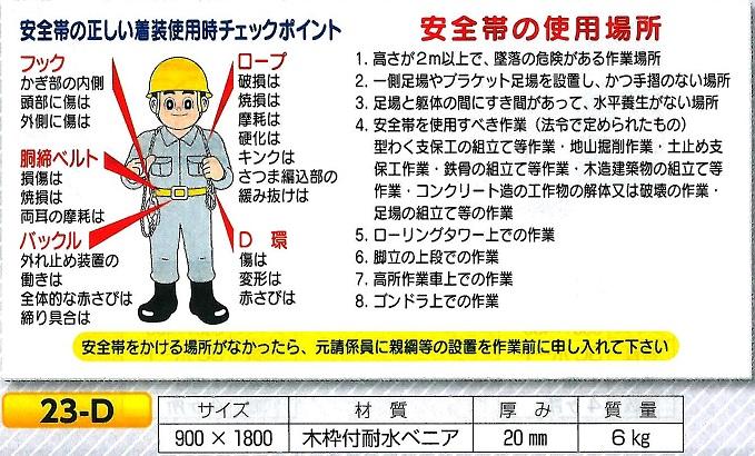 安全帯の正しい着装チェック 安全帯の使用場所  23-D  900×1800