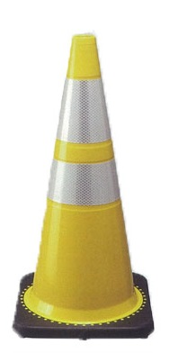 TRコーン3.5 710 カラーコーン黄色 プリズム高輝度反射シート付 10個セット