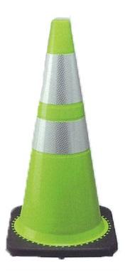 TRコーン3.5 710 カラーコーン黄緑色 プリズム高輝度反射シート付 10個セット