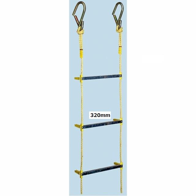 避難用縄はしご アルミ縄はしご 小カギ付 20m 120492