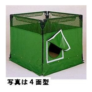 【送料無料】マンホール屏風 囲い 工事用 上部メッシュ仕様 3面 グリーン 5275-B