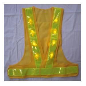 超高輝度8 000mcd黄色LEDを前後面に各8個ずつ 計16個使用 売り出し 超高輝度黄色LEDベスト LED安全チョッキ LED-YL-Y 寒冷地対応反射テープ使用 ライムイエローテープ 贈呈 黄色メッシュ