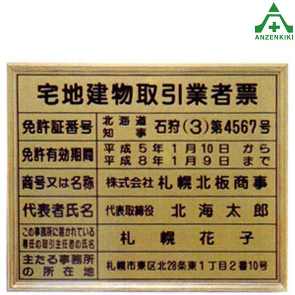 宅地建物取引業者票 (内容入) アルミ製額 (400×500mm) 法定看板 事務所看板 特注品 別注品 文字入れ